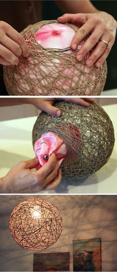 24 Easy And Cheap Crafts to Make and Sell… - Diy und Selbermachen Cool Diy, Easy Diy, Clever Diy, Fun Diy, Fun Crafts, Diy And Crafts, Crafts To Make And Sell Ideas, Twine Crafts, Diy Crafts Lamp