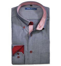 Modern Fit polopriliehavá košeľa Modrá vzorovaná 100% bavlna Satén façonné  (atlas)