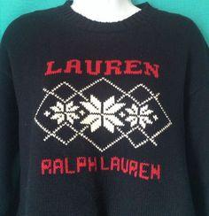 Ralph Lauren SNOWFLAKE SWEATER M Medium Womens Blue #RalphLauren #Crewneck
