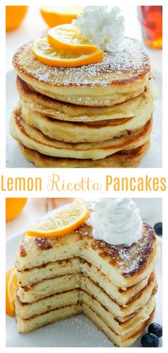 Lemon Ricotta Pancakes - Baker by Nature - Fancy Cake Lemon Pancakes, Lemon Ricotta Pancakes, Ricotta Dessert, Brunch Recipes, Breakfast Recipes, Dessert Recipes, Fudge Recipes, Fancy Cake, Pancake