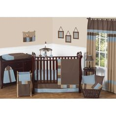 11pc Crib Bedding Set for the Soho Blue and Brown Collection by Sweet Jojo Designs, Beige