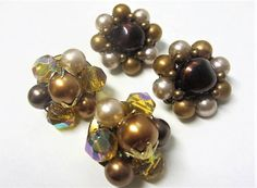 1960s Brown Beaded Clip On Earrings Lot of 2 Pairs Pearly