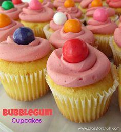 Bubblegum Cupcakes  1 pack Duncan Hines Frosting Creations, bubblegum flavor  24 bubblegum balls