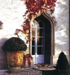 arched doorway, french doors, huge box wood, antique urn