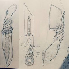 Some potential knife designs that I hope to make over the summer and fall. If you like it and want one I can make sure it happens and first. #knives #sketch #knifedrawings #thepxsmith #forgedinfire #thebladeshow #octopus #cephalopod #trollcross...