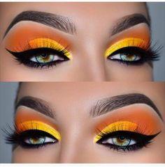 ▷ ideas and inspirations on how to make up your eyes .- ▷ 1001 + Ideen und Inspirationen, wie Sie Ihre Augen schminken Make up look - Makeup Eye Looks, Cute Makeup, Pretty Makeup, Skin Makeup, Eyeshadow Makeup, Eyeliner, Beauty Makeup, Eyebrows, Yellow Eyeshadow