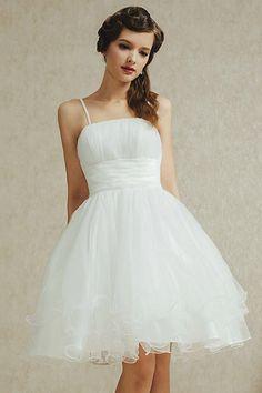 Simple robe fiançailles Spaghetti blanche jupe vaporeuse en tulle