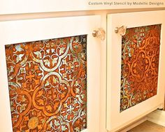 Stenciled Bathroom Cabinet Doors with Modern Masters Metal Effects Patinas | Cafe Blog Feature