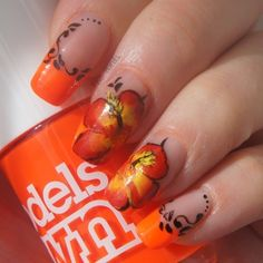 Hibiscus one stroke - Nail Art Gallery by NAILS Magazine
