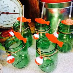 Green mason jar drinks at a fishing Father's Day party! See more party planning ideas at CatchMyParty.com!