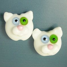 Odd Eyed Kitty Cats Handmade Lampwork Glass Bead Earring Pair SRA Gelly. via Etsy.