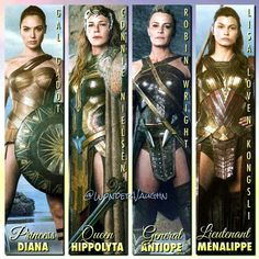 Wonder Woman with Queen Hippolyta, General Antipope, and Lt. Menalippe