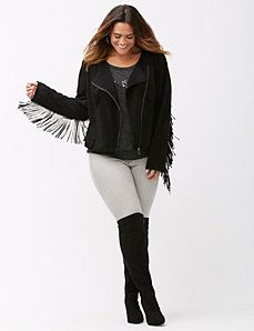 0f781dca2a6 Fringed faux suede jacket Plus Size Leather Jacket
