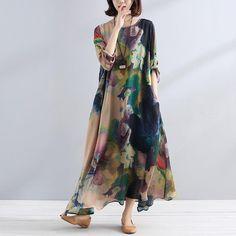 boutique maxi dresses Fine charming Women Casual Loose chiffon silk Shirt Dress - - New In Long Sweater Dress, Linen Shirt Dress, Linen Dresses, Dresses With Sleeves, Silk Dress, Loose Dresses, Chiffon Dress, Mode Abaya, Mode Hijab