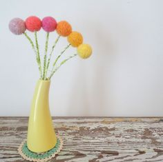 Wool felt Pom pom Flowers - Craspedia, Billy Buttons - Yellow and Pink dandelion - Vase with Pastel Flowers - Modern Floral Arrangement by berryisland on Etsy