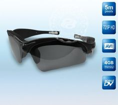 HD 720P Spy Video Camera eyewear sunglasses DVR Video recorder sunglasses by PROBER. $89.99. *World's first HD quality video camera eyewear *Brilliant and rich natural colors, high quality video images *Fashion and cool design keeps you close up with vogue steps  *5 mega pixels pinhole CMOS camera for clear digital video recording *Built-in 4GB complimentary TF Card for free, bigger capacity are available on customer's requests  *Flexible and fashion design su...