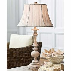 Wood Spindle Lamp with Whitewashed Natural Finish NEW