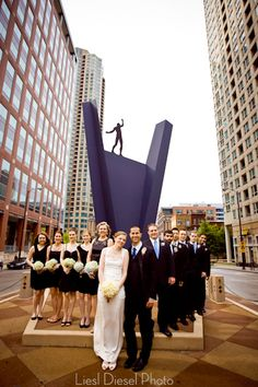 chicago tightrope sculpture wedding party portrait downtown