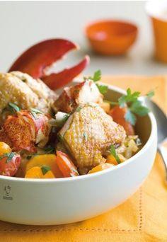 Fricassée de homard et poulet