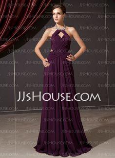Vestidos princesa/ Formato A Frente única Vestidos longo Chifon Vestido de festa com Pregueado Beading (017014244)