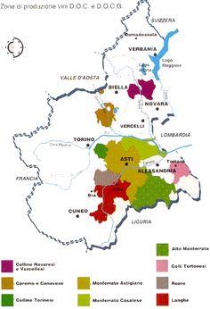 Piedmont wine map
