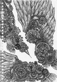 Mechanical Art Drawings | Steampunk Wings on Behance