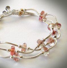 Multistrand Oregon Sunstone Bracelet  Sterling by jQjewelrydesigns
