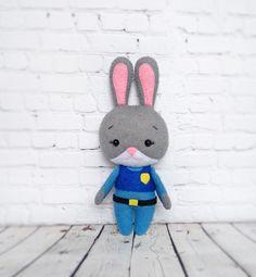 Zootopia Judy Hopps Toys Felt Disney Baby Shower Gift For Kids Handmade Birthday Ornament Rabbit Soft Toy Bunny Zootropolis Party Decoration by BelkaUA on Etsy