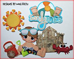 ELITE4U BOY BEACH paper pieced premade Scrapbook page album die cut WOLFFEY5 #HANDMADE