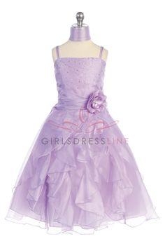 Lilac Jeweled Bodice Ruffle Layered Organza Flower Girl Dress L4259L $54.95 on www.GirlsDressLine.Com
