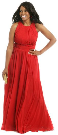 We offer red plus size evening dresses. This flowing plus size evening dress can be customized for you.  Red halter evening gowns for the curvy plus size women are available at www.dariuscordell.com/featured/plus-size-evening-dresses-ball-gowns/