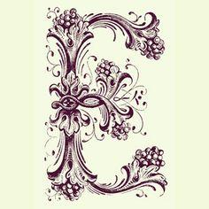 E monogram by Easy Life Productions Illuminated Letters, Illuminated Manuscript, Letras Tattoo, E Tattoo, Language Of Flowers, Colour Pallete, Custom Fonts, Zen Art, Monogram Letters