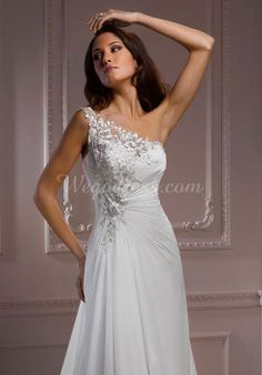 A-line Asymmetric Waist Floor-Length One Shoulder Sleeveless Wedding Dress with Lace - Wegodress.com