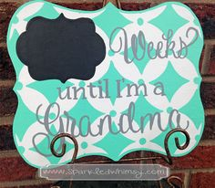 Weeks Until I'm a Grandma Countdown Chalkboard Children  Housewares  Sign  countdown  chalkboard  days  personalized  wood sign  days until  Sparkled Whimsy shower gift  baby  new baby  grandma  grandmother  gift