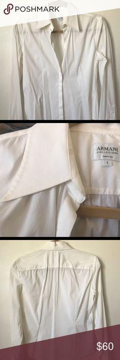 Armani Collezioni classic shirt Armani Collezioni off white essential shirt in any wardrobe , great condition , Size 6 Armani Collezioni Tops Button Down Shirts