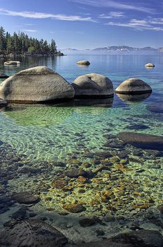 This section of beach at Lake Tahoe is so nice. The water color and the clearity is amazing. The lake is so big and deep that it stays the same temp. year around. 55 degrees.