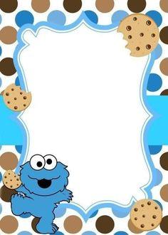 Birthday Background Design, Monster Invitations, Monster Baby Showers, Monster 1st Birthdays, Cookie Monster Party, Monster Stickers, Baby Boy 1st Birthday Party, Elmo Party, Sesame Street Birthday