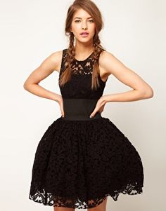 ASOS Prom Dress in Lace With Elastic Waist