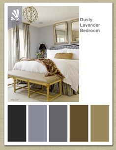 My favorite colors purple Lavender, Gold, Chestnut Color Palette. Make your bedroom a Sanctuary! Bedroom Colors, Bedroom Decor, Bedding Decor, Bedroom Ideas, Gold Bedroom, Master Bedroom, Palette, My New Room, Beautiful Bedrooms