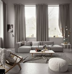 The Undeniable Reality About Modern All White Living Room Decor - tophomedecore Condo Living Room, Cozy Living Rooms, Living Room Grey, Living Room Interior, Home And Living, Living Room Decor, Bungalow Interiors, Home Curtains, Home Deco