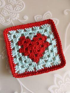 crochet along terray, tertia, cal, deken Diy Crochet Granny Square, Crochet Heart Blanket, Crochet Stars, Crochet Quilt, Granny Square Crochet Pattern, Crochet Stitches Patterns, Crochet Motif, Heart Granny Square, Granny Squares