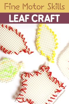 This fine motor craft builds bilateral coordination skills, eye-hand coordination, precision of grasp, and motor planning. Make a set of colorful Fall leaves while working on fine motor skills!