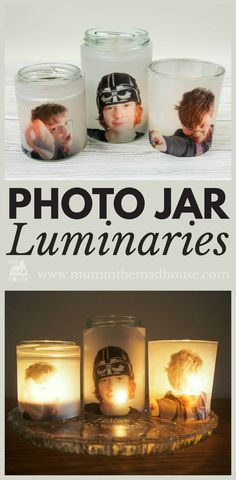Photo Jar Luminaries Upcycle glass jars into a stunning glowing photo jar luminaries. This beautiful photo luminaries glow when you add a candle and make the perfect gifts. What a fun DIY craft.