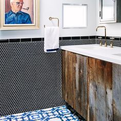 Crazy ass tiles, reclaimed wood in a modern silhouette, #allgoldeverything (well, for plumbing at least), and a weird old man to round out the random that all somehow still works. This will forever be one of my fave bathrooms (and clients) no matter how many I have the pleasure of engaging. And now the whole house is featured with fun recent photos today on the front page of @curbed!
