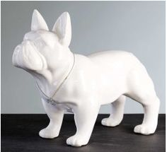 BIG Statue of french bulldog, white ceramic, for decoration or collection