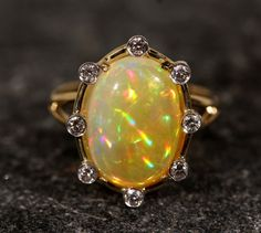 Natural Orange Opal 14k Gold Ring w/ Diamond by ZoZoDesignsUSA