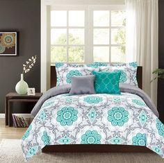 Crest Home Sunrise King Comforter 5 Pc Bedding Set Teal And Grey Medallion Oversized Overfilled