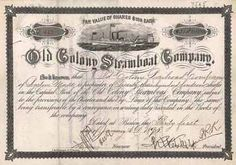 Old Colony Steamboat Co. 7 shares à 100 $ 30.9.1890.