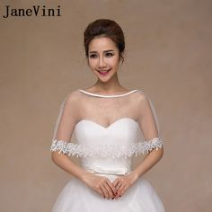 fa423d292 US $9.95 49% OFF|Aliexpress.com : Buy JaneVini 2018 Simple White Bolero  Women Bridal Cape Lace Bohemia Summer Shawl Wraps Wedding Accessories  Evening Capes ...