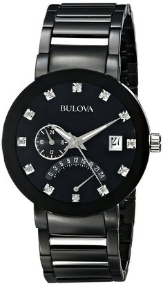 7900178a9 Bulova Mens DiamondAccented Black Stainless Steel Watch * Check out this  great product.